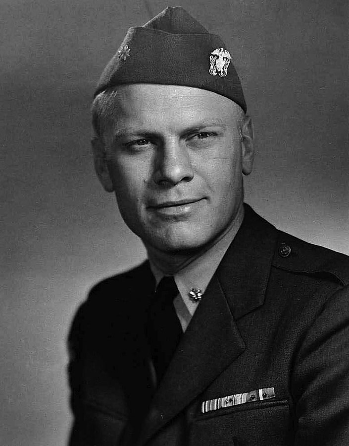 Gerald Ford, as an officer in the US Navy in 1945. Wikipedia image in the public domain.