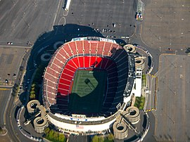 Aerial view of Giants Stadium.