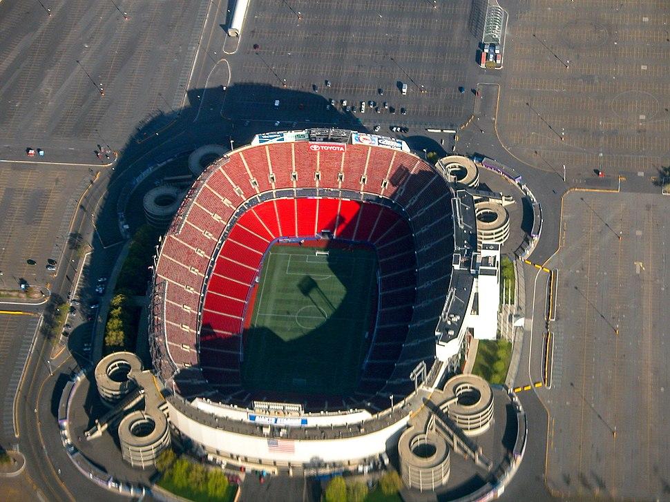 Aerial view of Giants Stadium.