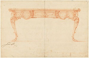 Gilles-Marie Oppenordt - Signed drawing of a writing desk