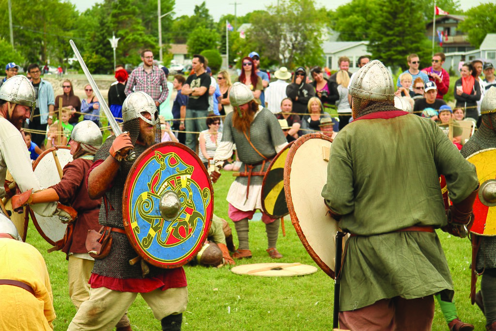 Norse battle reenactment in the town of Gimli, Manitoba