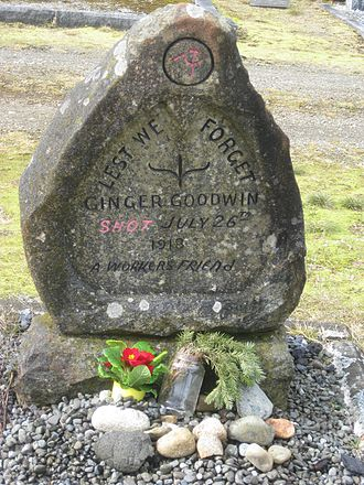 Albert Goodwin - Headstone of Ginger Goodwin at the Cumberland Municipal Cemetery in Cumberland, British Columbia. Flowers have been left on the grave. Note that the date inscribed on the headstone is inaccurate.