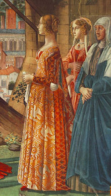 471fb0c49 Giovanna Tornabuoni [it] and her attendants in Italian fashion of the  1480s. The tight slashed sleeves reveal the full chemise sleeves beneath.