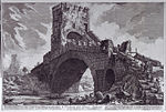 Engraving of the Ponte Salario by Giovanni Battista Piranesi from between 1754-1760