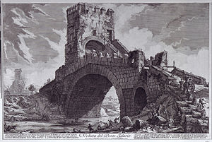 Ponte Salario - Engraving of the Ponte Salario by Giovanni Battista Piranesi from between 1754–1760