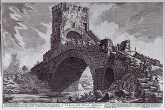 Ponte Salario - Engraving of the Ponte Salario by Giovanni Battista Piranesi from between 1754–1760