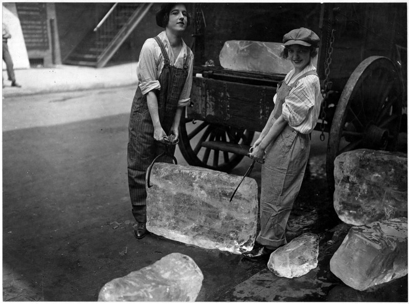 File:Girls deliver ice. Heavy work that formerly belonged to men only is being done by girls. The ice girls are delivering... - NARA - 533758.tif