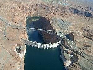 Colorado River Storage Project - Glen Canyon Dam and Lake Powell near Page, Arizona. The dam and lake are major components in the Colorado River Storage Project's attempt to regulate the flow of the Colorado River.