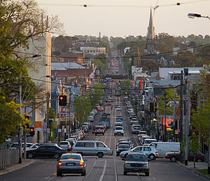 Hawthorn, Victoria - Glenferrie Road facing south, looking down the hill from Kew. Beyond the traffic light is Hawthorn, and the foreground is in Kew, as Barkers Road forms the border