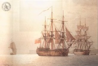 James Stirling (Royal Navy officer) - the 98-gun HMS Glory  (centre)
