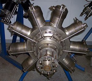 Gnome Monosoupape - A 1917 Gnome 9N 160 hp Monosoupape rotary engine, with dual ignition provision. Diameter is 95cm (37.4 in)