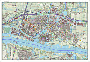 Gorinchem - Dutch Topographic map of Gorinchem (town), Sept. 2014