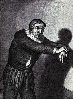 Le comédien Grandménil dans le rôle d'Harpagon, à la Comédie-Française, en 1865.