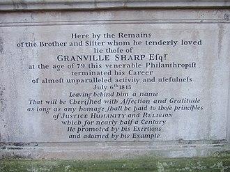 Granville Sharp - Inscription on Granville Sharp's tomb.