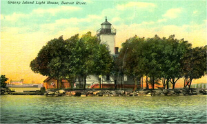 Grassy Island - A circa 1915 postcard showing the lighthouse that once stood on Grassy Island
