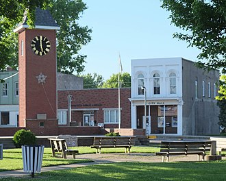 Greenfield, Illinois - City Hall and library