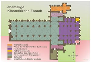 Ebrach Abbey - Map of the abbey church