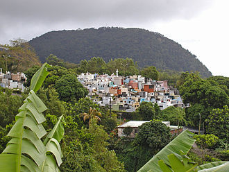 Caribbean - A church cemetery perched in the mountains of Guadeloupe