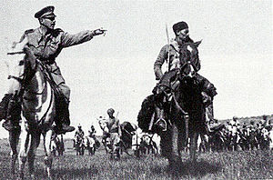 Battle of Agordat (1941) - Lieutenant Amedeo Guillet with Amhara cavalry.