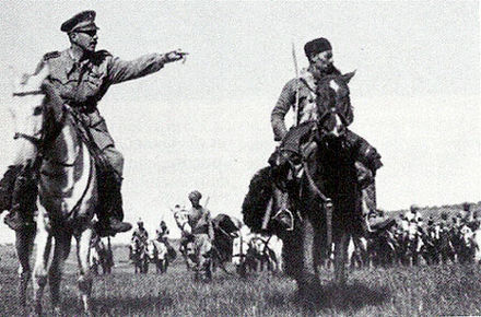 Amedeo Guillet with his Amhara cavalry. Guillet - Squadroni Amhara 1940.jpg