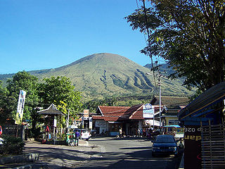 Mount Guntur mountain in West Java, Indonesia
