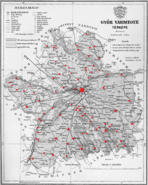 Győr County - Ethnic map of the county (with data of the 1910 census). Key: red - Hungarians; pink - Germans; light green - Slovaks. Coloured dots in plain rectangles imply the presence of smaller minority populations. Multicoloured rectangles imply cities and villages with multi-ethnic populations with the order of the stripes following the ethnic composition of the settlement.