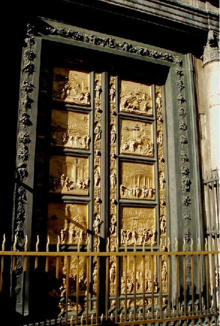 Lorenzo Ghiberti's Gates of Paradise (1425-1452) were a source of communal pride. Many artists assisted in their creation. Gylleneportarna.jpg