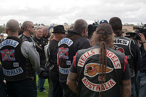 Colors (motorcycling) - Several motorcycle club members wearing their colors