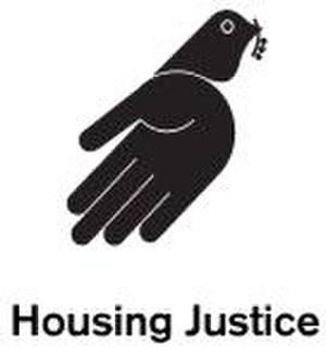 Housing Justice - This is the logo of Housing Justice; a second tier national charity that enables churches, shelters, Local Authorities and MPs to effectively help homeless people.