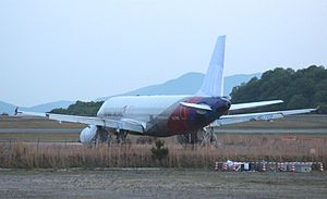 Asiana Airlines Flight 162 - Following the accident, HL7762 was placed in open storage at Hiroshima Airport.