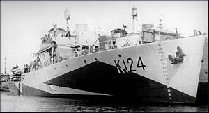 Diffused lighting camouflage - HMCS ''Cobalt'' began the secret sea trials of diffused lighting camouflage in January 1941.