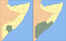 Questa mappa mostra la crescita dell'espansione territoriale di Al-Shabaab dal 31 gennaio 2009 al Dicembre 2010. Comunque, nel dicembre 2012 le aree controllate dall'organizzazione sono considerevolmente ridotte rispetto ai 2 anni precedenti
