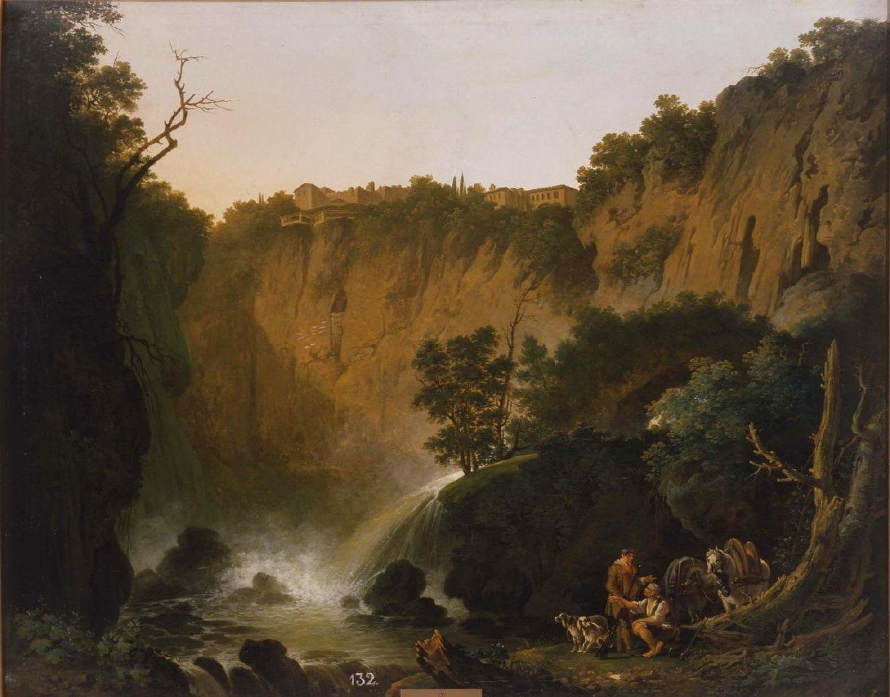 Paisaje con cascada y cazadores (la tarde) Jacob Philipp Hackert