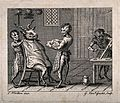 Half-human, half-monkey barbers shaving a goat. Engraving by Wellcome V0019695.jpg