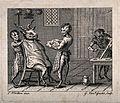Half-human, half-monkey barbers shaving a goat. Engraving by Wellcome V0019695.jpg