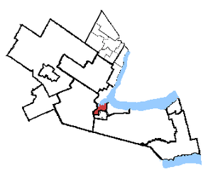 Hamilton Centre (provincial electoral district) - Hamilton Centre in relation to the other Hamilton area ridings