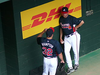 Roger McDowell - McDowell (right) with Braves pitcher Mike Hampton in 2008.