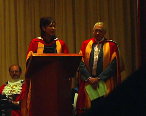 Harry Gration - Gration (right) with Christa Ackroyd receiving an honorary degree from the University of Bradford in 2008