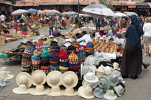 Hats on Marrakesh market