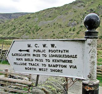 Haweswater Reservoir - 1930s Manchester Corporation Water Works (MCWW) footpath sign at the western end car park