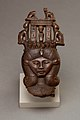 """Head of Hathor from a clapper the inscription calling the musician who used it """"beloved by the goddess Mut , Lady of Isheru (Karnak) MET 26.7.1449 EGDP013440.jpg"""