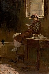 Interior Scene with a Girl Reading