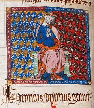 Early 14th-century depiction of Henry Henry I Cotton Claudius D. ii, f. 45v..jpg