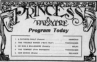 The Tempest (1911 film) - An advertisement for several films, including The Tempest.