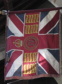 Hexham Abbey - flag of the Northumberland Fusiliers - geograph.org.uk - 1583700.jpg