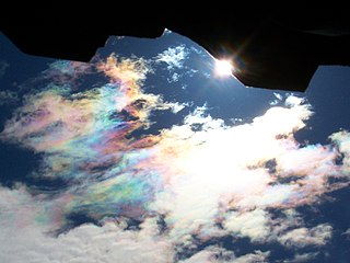 Cloud iridescence occurrence of rainbow-like colors in a cloud located in the general vicinity of the sun or moon