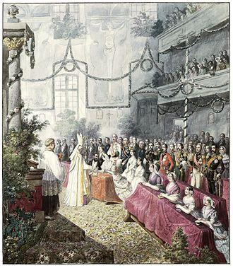 Adelaide of Löwenstein-Wertheim-Rosenberg - Wedding of the Duke of Braganza and the Princess of Löwenstein-Wertheim.
