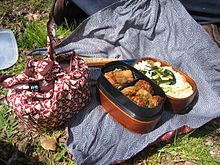 two typical home made bento one open one wrapped note the furoshiki cloths. Black Bedroom Furniture Sets. Home Design Ideas