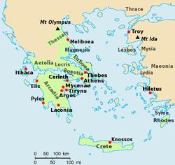 Χάρτης της Εποχής του Χαλκού στην Ελλάδα κατά την αναφορά του στην Ομηρική Ιλιάδα