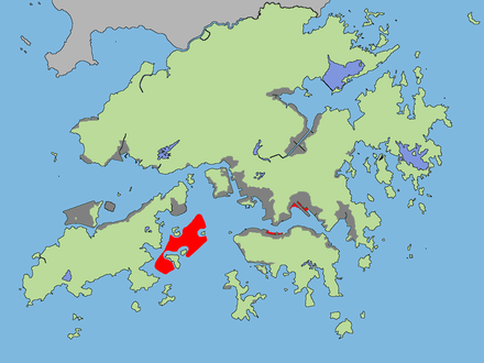 A map of reclaimed land in Hong Kong: Grey (built), red (proposed or under development). Many of the urban areas of Hong Kong are on reclaimed land. Hong Kong reclamation.png